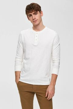 Cortefiel Organic cotton t-shirt buttons White