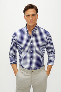 Cortefiel Plaid shirt vichy coolmax eco-made stretch Navy