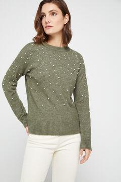 Cortefiel Pearl appliqué jumper Green