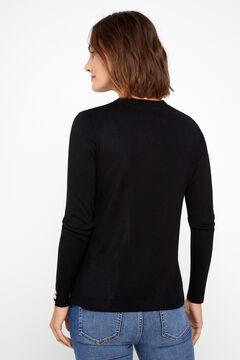 Cortefiel Crew neck sweater Black