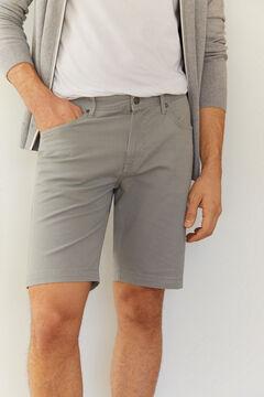 Cortefiel Micro print 5-pocket Bermuda shorts Gray