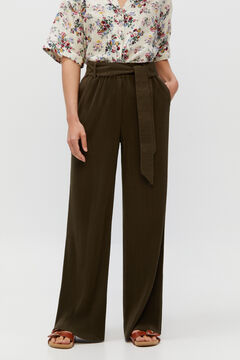 Cortefiel Pleated jersey-knit trousers Dark gray