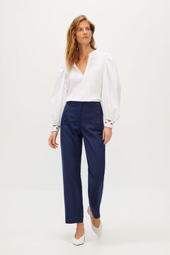 Cortefiel Trousers with sailor buttons Navy