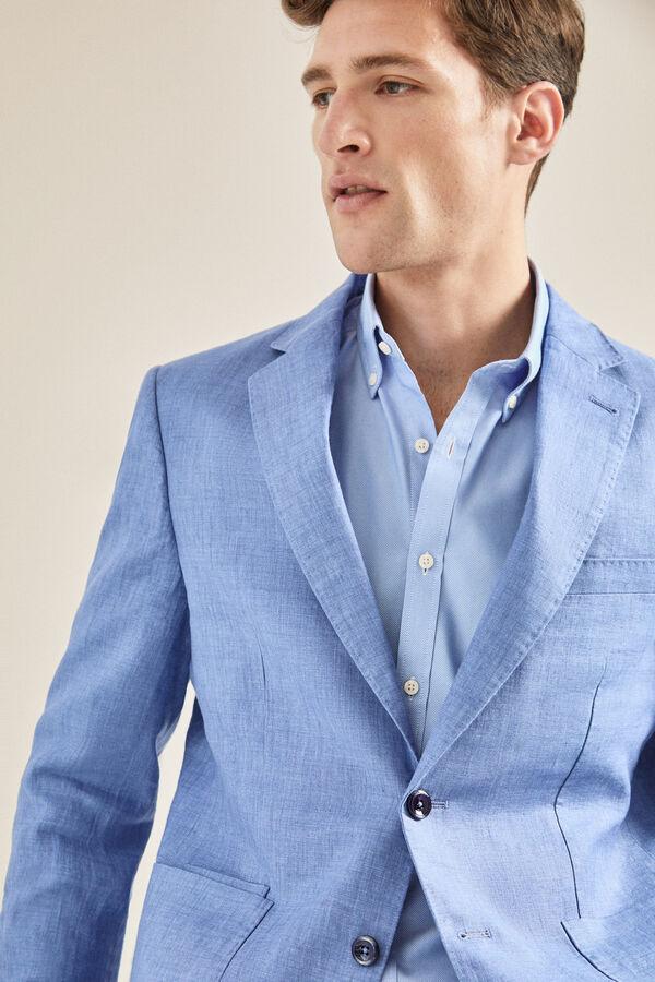 d1f05db262 Cortefiel Americana de lino en tailored fit Azul. Comprar