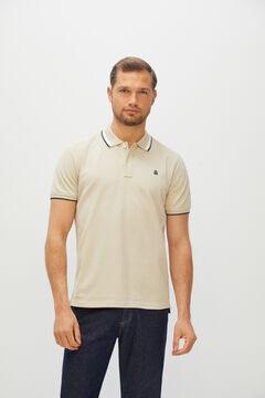 Cortefiel Short-sleeved logo polo shirt Brown