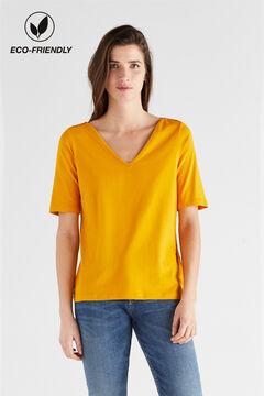 Cortefiel V-neck organic cotton t-shirt Beige
