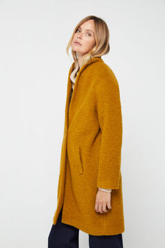 Cortefiel Long wool blend coat Beige