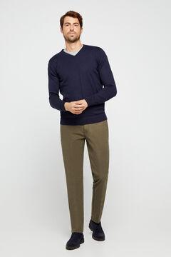 Cortefiel Pantalón chino básico microestampado regular Gris