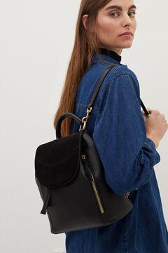 Cortefiel Suede backpack Black