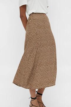 Cortefiel Printed midi skirt Tobaco