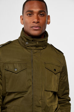 Cortefiel Multi-pocket safari jacket Dark green
