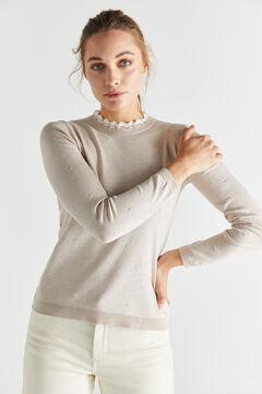 Cortefiel Guipure collar jumper Beige