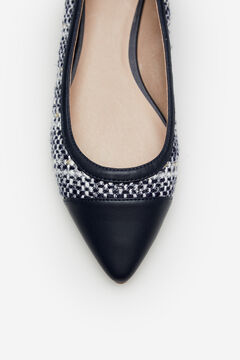 Cortefiel Tweed ballet flat with toe Blue