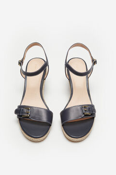 Cortefiel Leather and natural jute wedge Navy