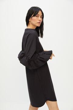 Cortefiel Flounced sleeve dress Black