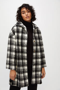Cortefiel Checked hooded cape coat Ecru