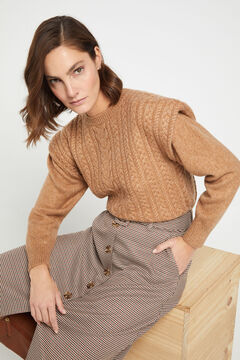 Cortefiel Cable knit jumper with shoulder pads Mole