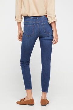 Cortefiel Sustainable wash cigarette trousers with side taping  Blue jeans