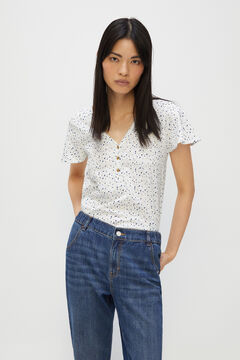 Cortefiel Basic t-shirt with buttons Ecru
