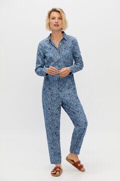 Cortefiel Printed denim jumpsuit Printed