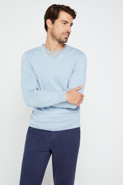 Cortefiel Essential micro print regular fit chinos Turquoise