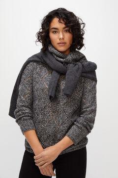 Cortefiel Multi-yarn openwork jumper Black