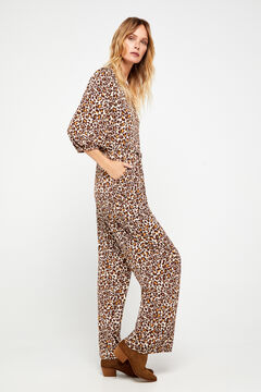 Cortefiel Animal print jumpsuit Kaki