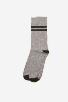 Cortefiel Plain ribbed sports socks Gray