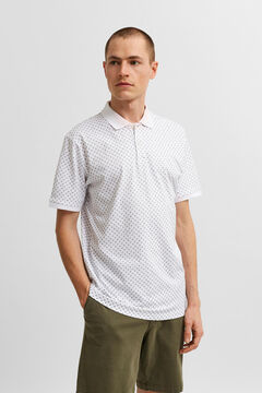 Cortefiel Printed short-sleeved polo shirt White