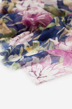 Cortefiel Large floral print lightweight scarf Navy