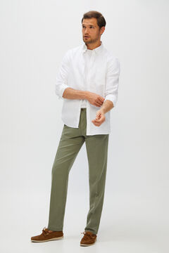 Cortefiel Regular fit linen trousers Dark gray