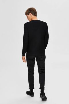 Cortefiel Organic cotton textured lines jumper Black