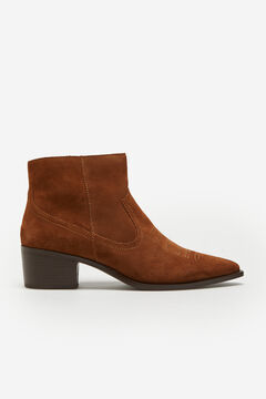 Cortefiel Split leather cowboy ankle boot with stitching Tobaco