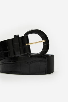 Cortefiel Wide stretch belt with covered buckle, in faux crocodile material Black