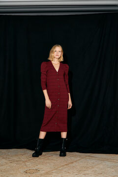 Cortefiel Jersey-knit dress with puffed sleeves Red
