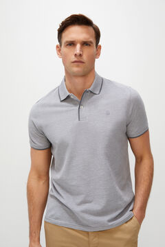 Cortefiel Oxford fabric short-sleeved polo shirt Gray