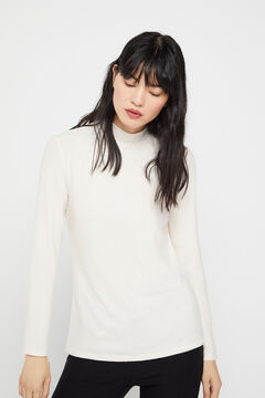 Cortefiel Soft feel mock turtleneck t-shirt Ecru