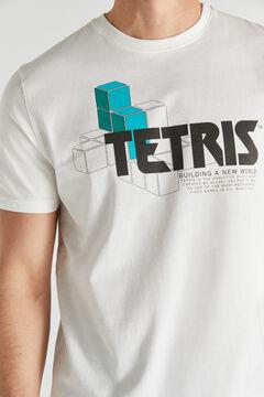 Cortefiel Short-sleeved Tetris T-shirt Ecru
