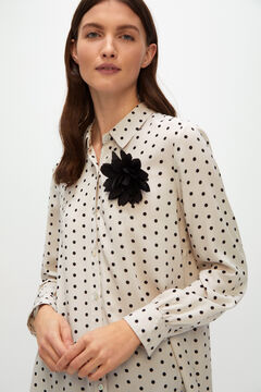 Cortefiel Polka-dot print brooch shirt Gray