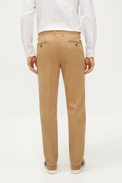 Cortefiel Textured regular fit trousers with elasticated waist Camel