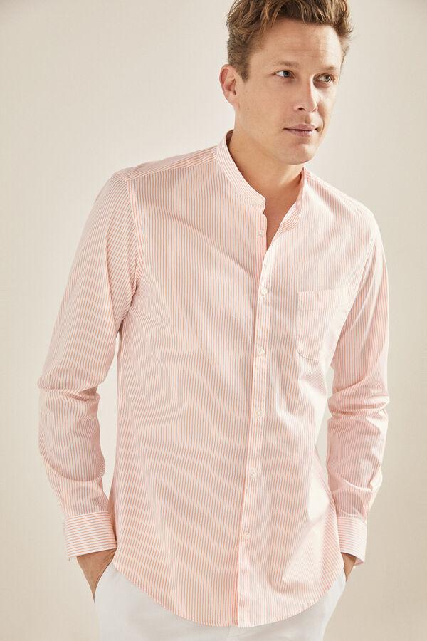 Cortefiel Camisa de rayas cuello mao Rojo 7c5d6f15cc5