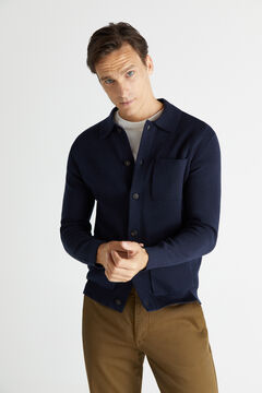 Cortefiel Button-up cardigan with three pockets Navy