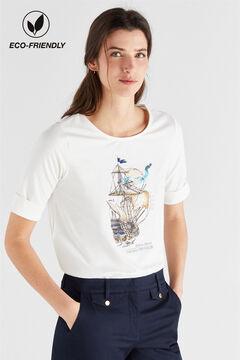 Cortefiel Camiseta marinera algodón orgánico Blanco