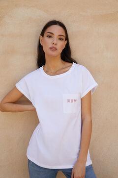 Cortefiel T-shirt com bolso Branco