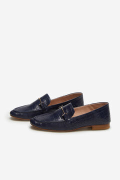 Cortefiel Embossed crocodile loafer Navy