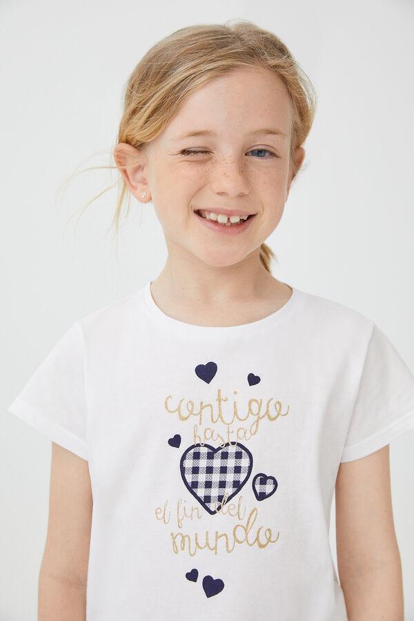 f2f80f36db Cortefiel Camiseta detalle corazón Azul