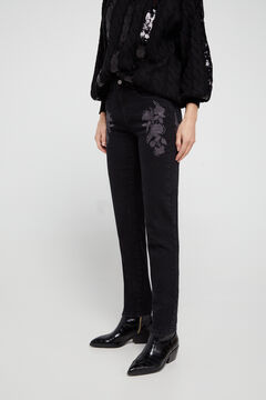 Cortefiel Embroidered jeans Black
