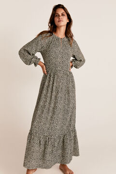 Cortefiel Long animal print dress Ecru