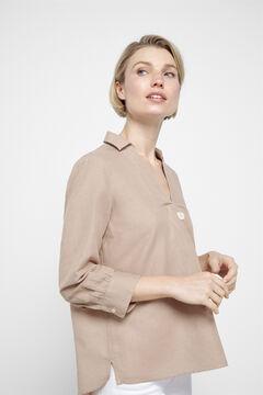 Cortefiel Linen blouse Brown