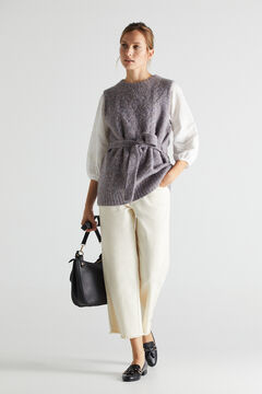 Cortefiel Belted knit gilet Royal blue